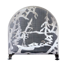 Meyda 15672 Fly Fishing Creek Arched Fireplace Screen