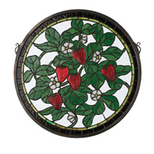 Meyda 20728 Tiffany Strawberry Medallion Stained Glass Window