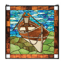 Meyda 21440 Tiffany Beached Guideboat Stained Glass Window