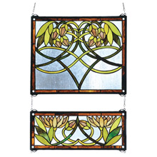 Meyda 27233 Tiffany Waterlily Two Pieces Stained Glass Window