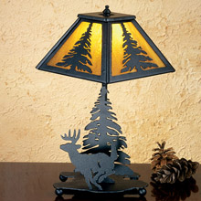 Meyda 28273 Pine Tree and Deer Table Lamp