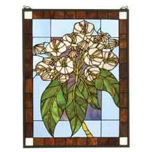 Meyda 31268 Tiffany Mountain Laurel Stained Glass Window