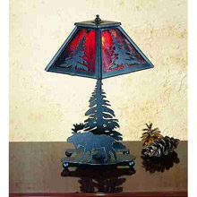 Meyda 32477 Pine Tree and Moose Table Lamp