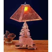 Meyda 32507 Pine Tree and Black Bear Mica Table Lamp