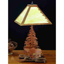 Meyda 32521 Pine Tree and Moose Table Lamp