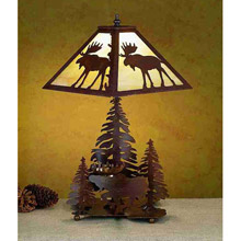 Meyda 32524 Pine Trees and Moose Table Lamp