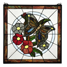 Meyda 32672 Tiffany Butterfly Floral Stained Glass Window