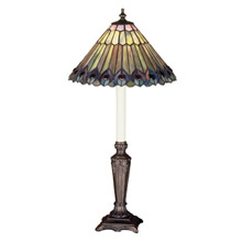Meyda 47840 Tiffany Jeweled Peacock Buffet Lamp