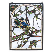 Meyda 47966 Tiffany Lovebirds Stained Glass Window