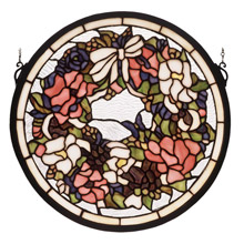 Meyda 48324 Tiffany Wreath & Garland Medallion Stained Glass Window