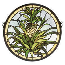 Meyda 48550 Tiffany Welcome Pineapple Medallion Stained Glass Window