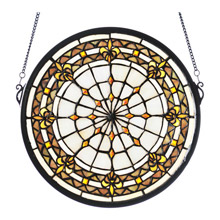 Meyda 49839 Tiffany Fleur-De-Lis Medallion Stained Glass Window