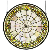 Meyda 49840 Tiffany Fleur-De-Lis Medallion Stained Glass Window