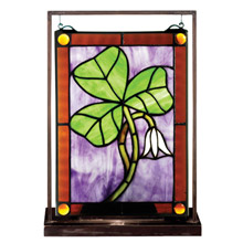 "Meyda 50036 Shamrock 9.5""W X 10.5""H Lighted Mini Tabletop Window"