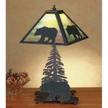 Meyda 50398 Lone Bear and Pine Tree Table Lamp