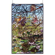 Meyda 50563 Tiffany Woodland Lilypond Stained Glass Window