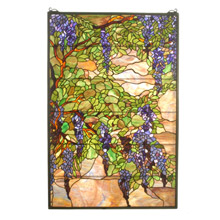 Meyda 51338 Tiffany Wisteria & Snowball Stained Glass Window