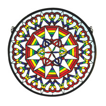 Meyda 51703 Tiffany Rainbow Expression Medallion Stained Glass Window
