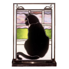 Meyda 56834 Cat-At-Window Lighted Mini Tabletop Window