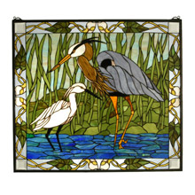 Meyda 62955 Tiffany Blue Heron & Snowy Egret Stained Glass Window