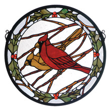 Meyda 65289 Tiffany Cardinals & Holly Stained Glass Window