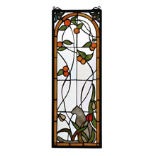 Meyda 67117 Tiffany Tulip & Peaches Stained Glass Window