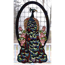 Meyda 67135 Tiffany Oval Peacock Stained Glass Window