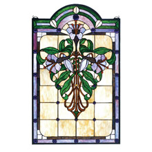 Meyda 67136 Tiffany Nouveau Lily Stained Glass Window