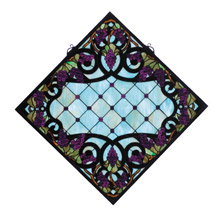 Meyda 67143 Tiffany Diamond Grapevine Stained Glass Window