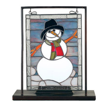Meyda 68340 Snowman Lighted Mini Tabletop Window