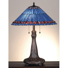 Meyda 82875 Tiffany Jeweled Peacock Table Lamp