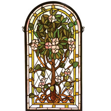 Meyda 99049 Tiffany Tree Of Life Arched Stained Glass Window