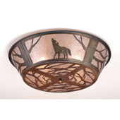 Rustic Northwoods Wolf On The Loose Flush Mount Ceiling Fixture - Meyda 10010