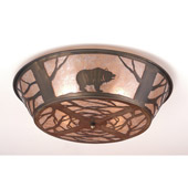 Rustic Northwoods Grizzly Bear On The Loose Flush Mount Ceiling Fixture - Meyda 10011