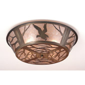 Rustic Northwoods Strike Of The Eagle Flush Mount Ceiling Fixture - Meyda 10013