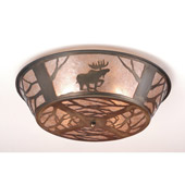 Rustic Northwoods Moose On The Loose Flush Mount Ceiling Fixture - Meyda 10015