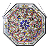 Tiffany Front Hall Floral Stained Glass Window - Meyda 107222