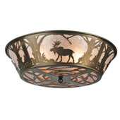 Rustic Northwoods Moose At Dawn Flush Mount Ceiling Fixture - Meyda 108638