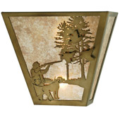 Rustic Quail Hunter With Dog Wall Sconce - Meyda 112185