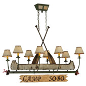 Rustic Personalized Canoe Oblong Chandelier - Meyda 131252
