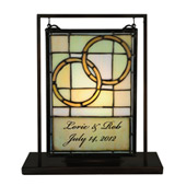 Tiffany Personalized Wedding Lighted Mini Tabletop Window - Meyda 136775