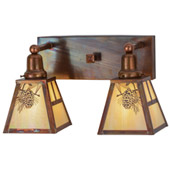 Rustic Winter Pine Vanity Light - Meyda 150764