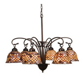 Tiffany Fishscale Six Light Chandelier - Meyda Tiffany 18634