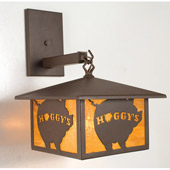 Rustic Personalized Hoggy's Hanging Wall Sconce - Meyda 19407