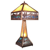 Rustic Deer Lodge Table Lamp with Lighted Base - Meyda Tiffany 19632