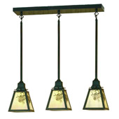 Craftsman/Mission Winter Pine Three Light Multi-Pendant Fixture - Meyda 20681