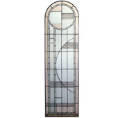 Contemporary Deco Arched Left Sided Stained Glass Window - Meyda 22868