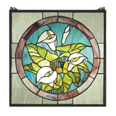 Tiffany Calla Lily Stained Glass Window - Meyda 23866