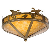Rustic Ducks In Flight Flush Mount Ceiling Fixture - Meyda 26389