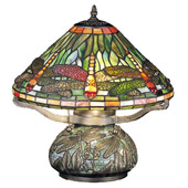 Tiffany Dragonfly W/Tiffany Mosaic Base Table Lamp - Meyda 26681